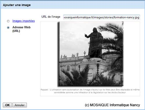 L'insertion d'une image depuis une adresse Internet - Google Sites