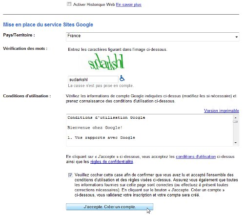 La suite de l'inscription - Google Sites