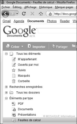 La page Google Documents - Google Sites